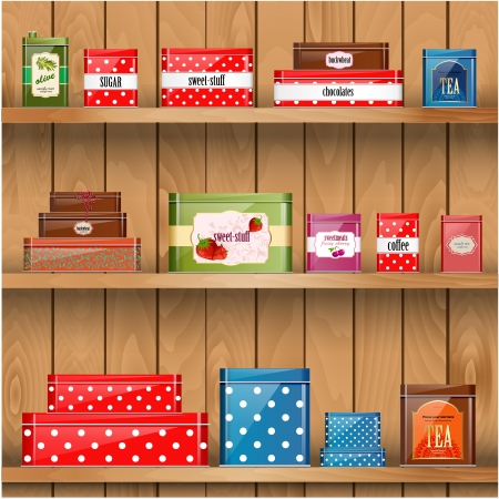 canned drink: Wooden shelves with metal boxes Illustration