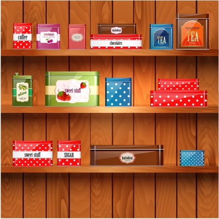 canned fruit: Wooden shelves with metal boxes Illustration