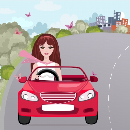 Girl in a red convertible Stock Vector - 18755033