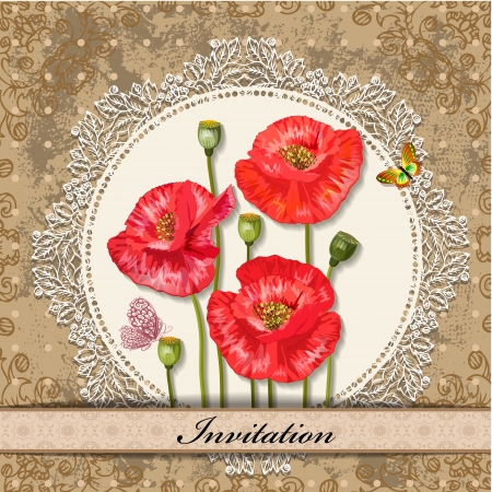 card design with poppy vintage   Vector