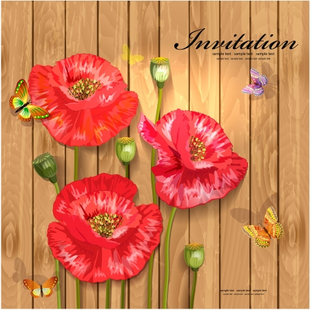 Poppies with butterflies on wood texture for your design Vector