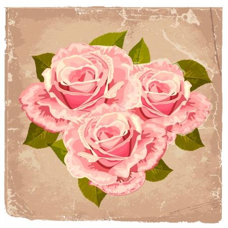boeket rozen in een retro-ontwerp