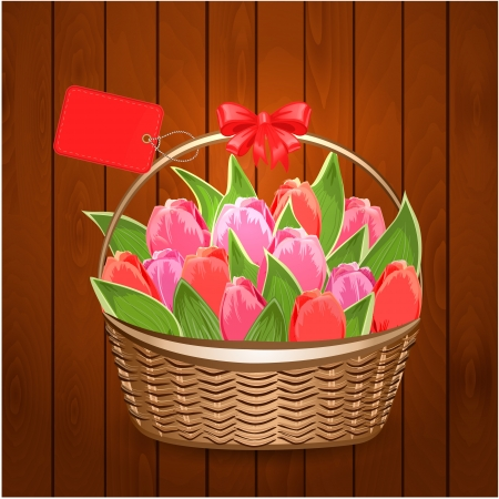 Basket of beautiful tulips with label Vector