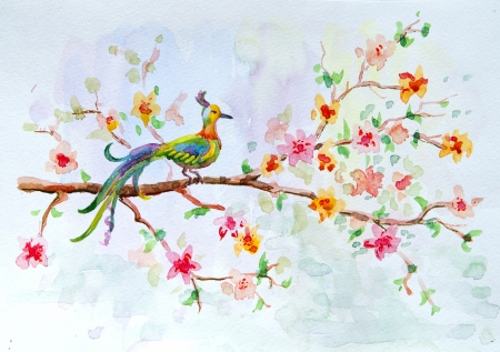 natural color: Watercolor drawing of a bird on a floral branch Stock Photo