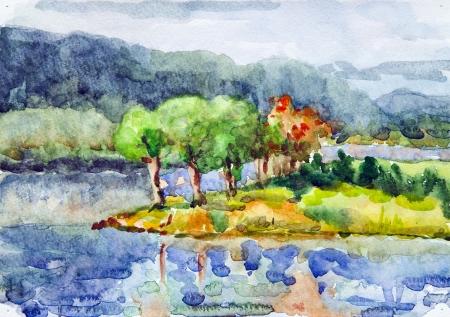 autumn scene: Drawing watercolor seascape Stock Photo
