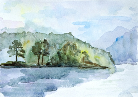 fall landscape: Drawing watercolor seascape Stock Photo