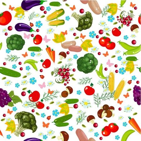 野菜のシームレスなテクスチャ  イラスト・ベクター素材