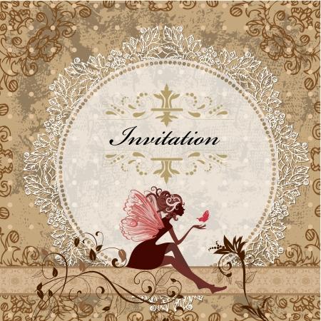 ビンテージ妖精と名刺のデザイン  イラスト・ベクター素材