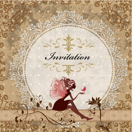 fairy silhouette: card design with vintage fairy