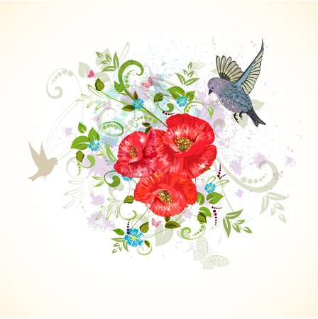 Romantic design with poppies and bird Vector