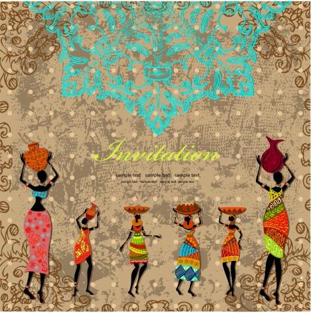 빈티지 아프리카 소녀와 카드 디자인 일러스트