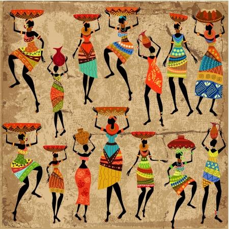 arte africano: Mujer africana en el fondo del grunge Vectores