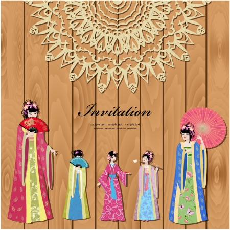 chinese pattern: Design with beautiful oriental girls Illustration