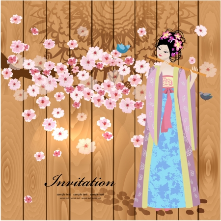 Design with beautiful oriental girl Vector