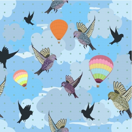 Seamless texture with flying birds Vector