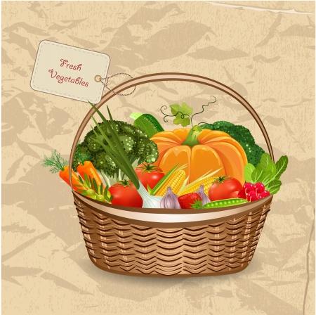 flower market: Basket fresh vegetables for your design Illustration