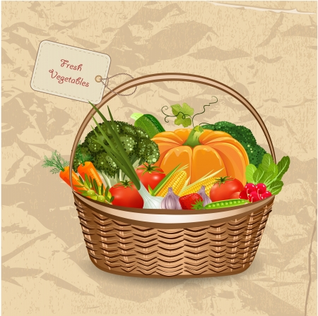 Basket frischem Gemüse für Ihren Entwurf Standard-Bild - 20274346