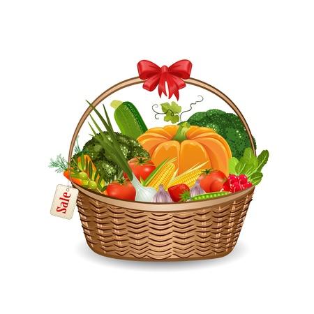 canastas con frutas: Cesta de verduras frescas para su diseño Vectores