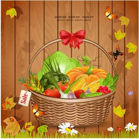 eco flowers basket: Basket fresh vegetables for your design Illustration