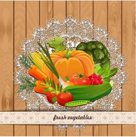 Légumes frais pour votre conception. Collection Vintage