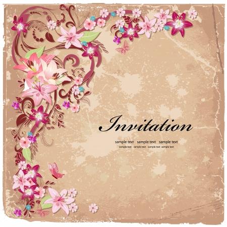 Beautiful floral design invitation card Stock Photo - 20328165