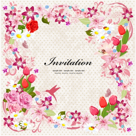 Beautiful floral design invitation card Stock Photo - 20328169