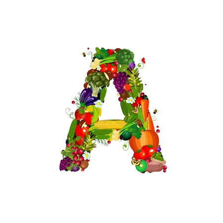 Fresh vegetables and fruits letter A Stock Photo