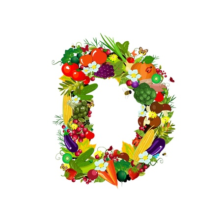 vitamin d: Fresh vegetables and fruits letter D Stock Photo