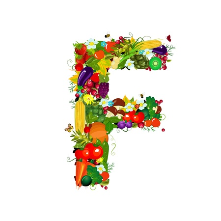 Fresh vegetables and fruits letter F photo