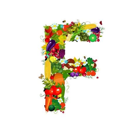 corn flower: Fresh vegetables and fruits letter F