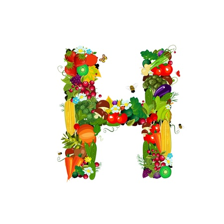 Fresh vegetables and fruits letter H photo