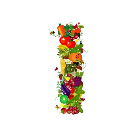 Fresh vegetables and fruits letter I photo