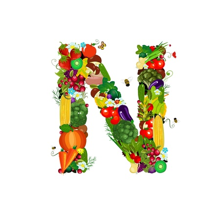 Fresh vegetables and fruits letter N photo