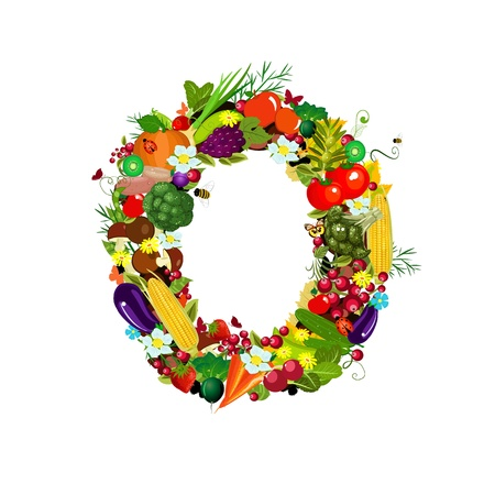 Fresh vegetables and fruits letter O photo