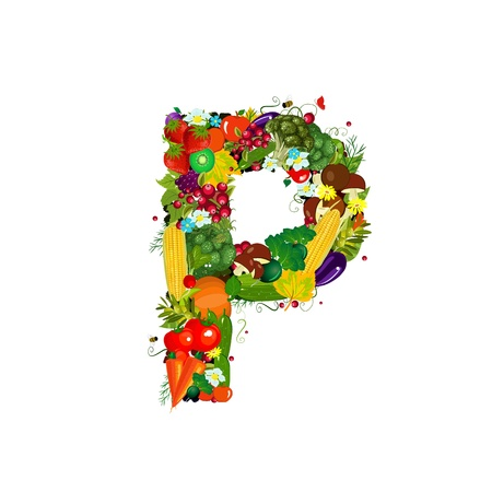 Fresh vegetables and fruits letter P Stock Photo - 20328183