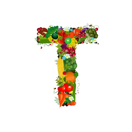 Fresh vegetables and fruits letter T photo