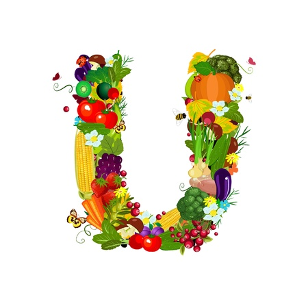 Fresh vegetables and fruits letter U photo