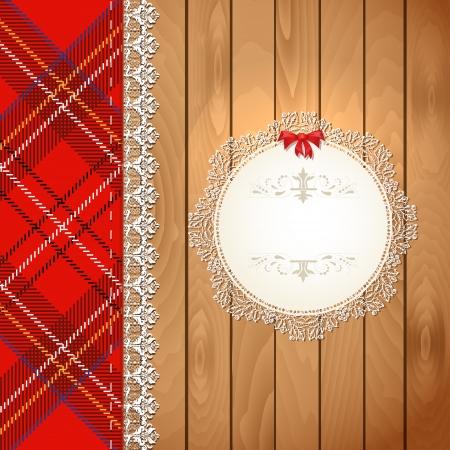 Illustration openwork frame on wooden texture illustration