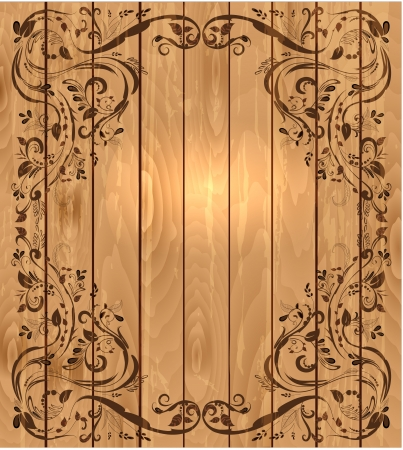 foliar: Vintage foliar frame on wooden texture