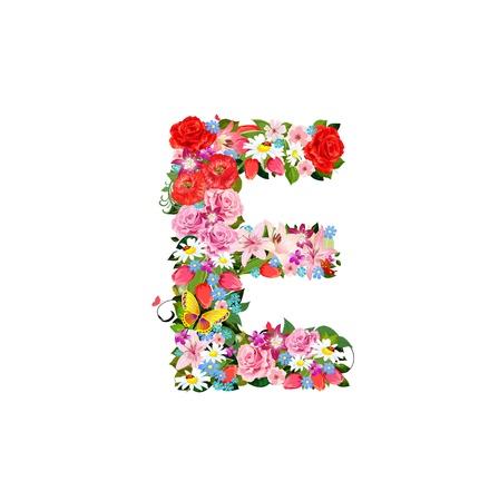 e alphabet: Romantic letter of beautiful flowers E