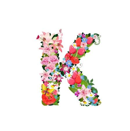 Lettre romantique de belles fleurs K Banque d'images - 20617007