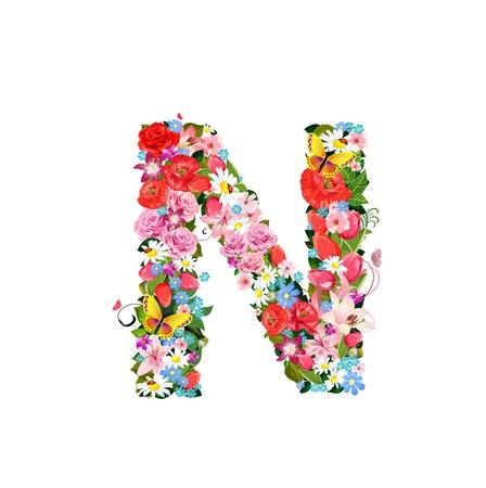 Romantic letter of beautiful flowers N