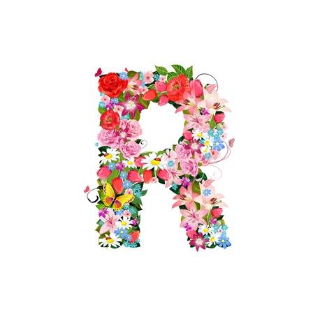 Lettre romantique de belles fleurs R Banque d'images - 20617018
