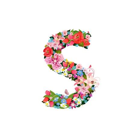 Lettre romantique de belles fleurs S Banque d'images - 20617006
