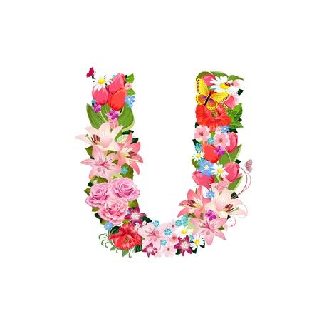 letter u: Romantic letter of beautiful flowers U