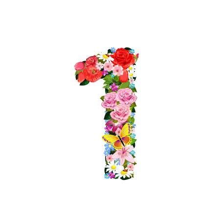 Numéro romantique de belles fleurs 1 Banque d'images - 20616940