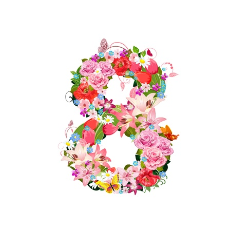 Romantic number of beautiful flowers 8 Vector