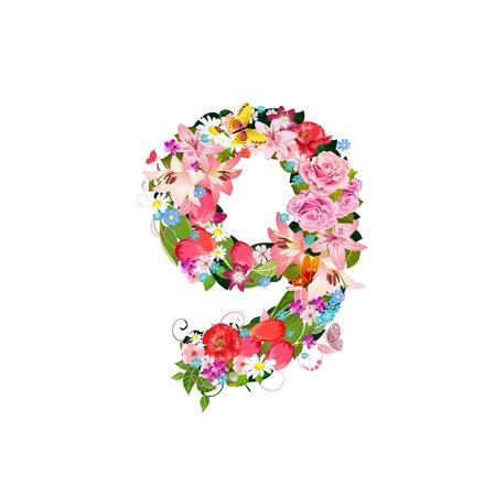numero nueve: Número romántica de flores hermosas 9 Vectores