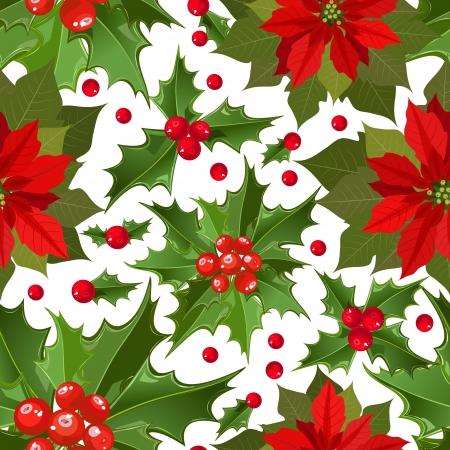 flor de pascua: flor de la textura de Navidad sin fisuras Vectores