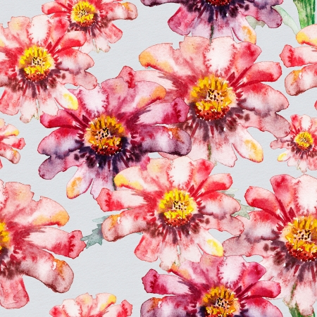 watercolor paper: Flower seamless texture watercolor Stock Photo